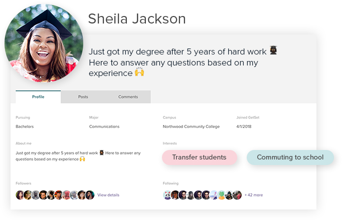 Examples of reporting on GetSet's Insight platform, including a dashboard of student activity and qualitative student profile data.