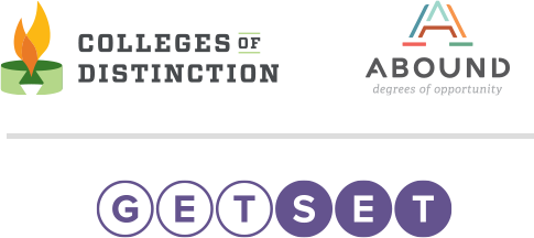 The logos for Colleges of Distinction, Abound, and GetSet.