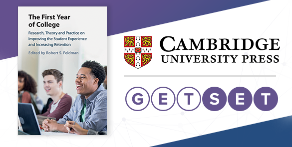 "Cambridge University Press logo, GetSet Logo, and the cover of the new book ""The First Year of College"""