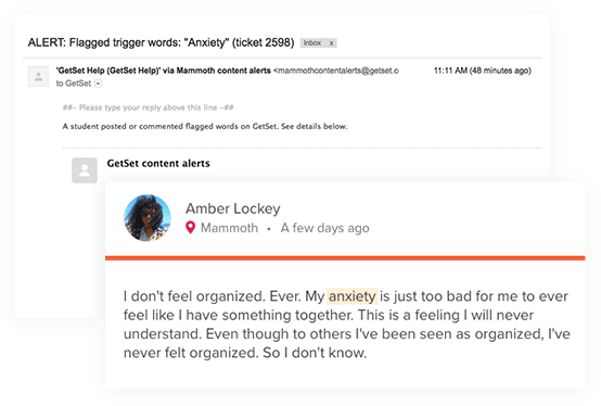 "An example of GetSet's content monitoring feature, which had flagged a post containing the word, ""anxiety."" This image shows the a student post with the word, ""anxiety,"" highlighted, and the corresponding alert message regarding the post."